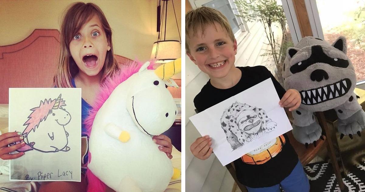Egy cég a gyerekek furcsa rajzait valódi plüss állatokká változtatja